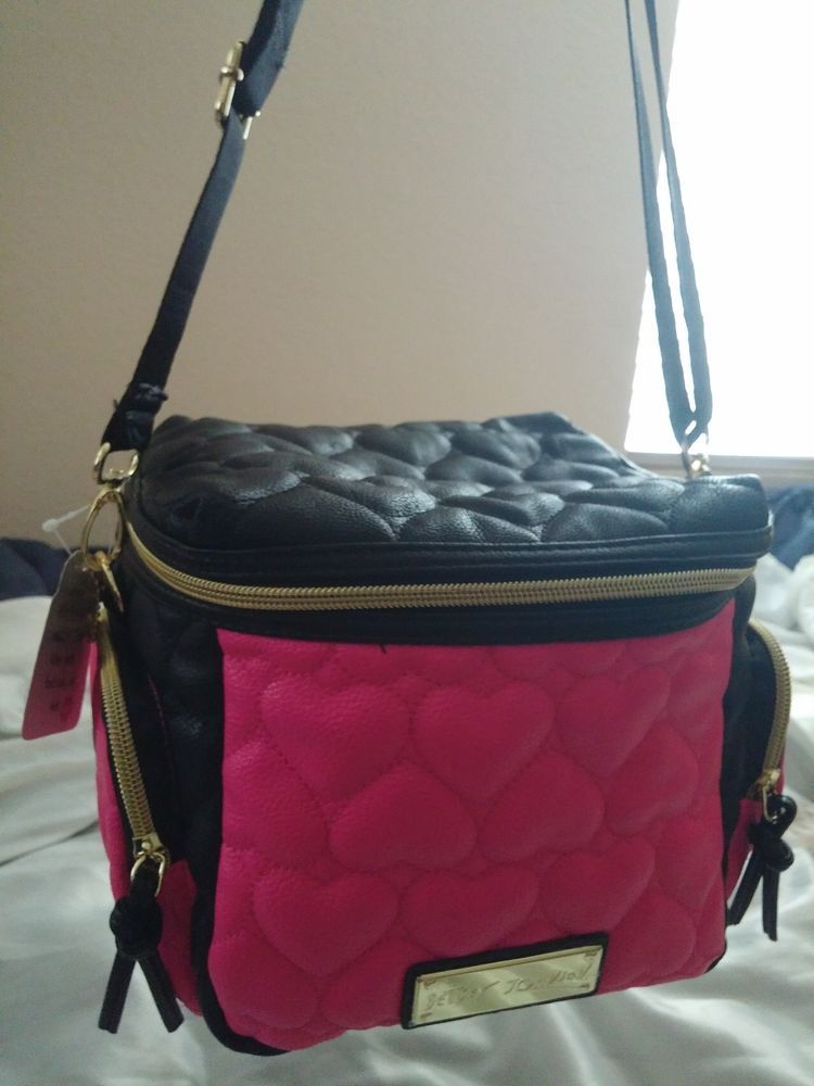 99b7e875ad78 Betsey Johnson Cargo Lunch Box Tote Bag Insulated Cooler Pink Black NWT  ( 68.00)