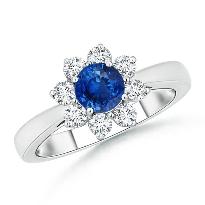 Angara Cathedral Set Blue Sapphire Diamond Halo Wedding Ring in Platinum