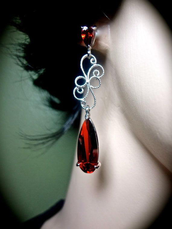 Long red earrings // Bridal jewelry // Silver by QueenMeJewelryLLC, $52.99