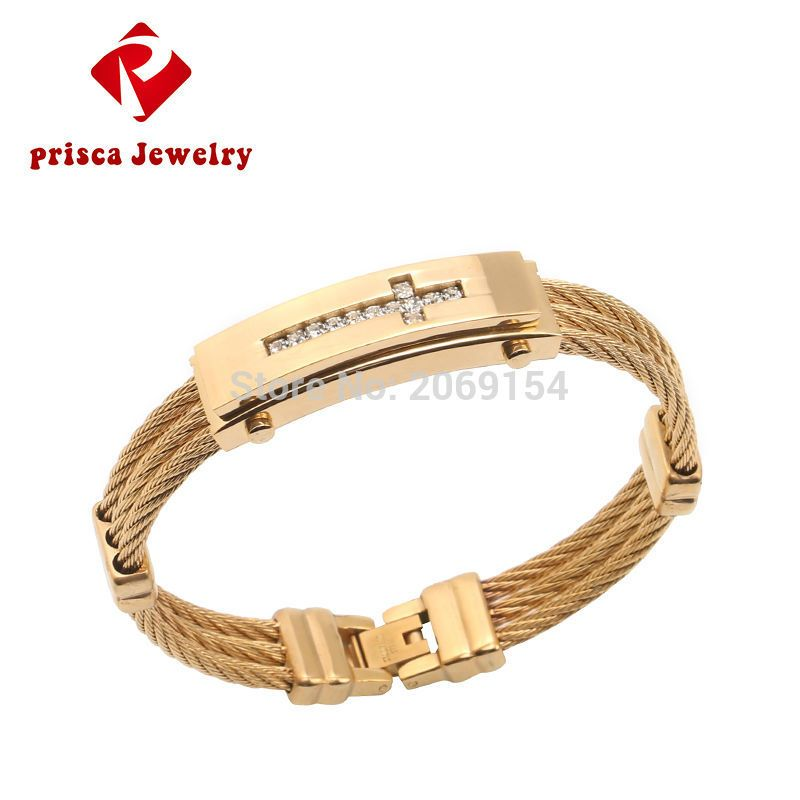 Cross Men Gold Bracelet Jewelry New CZ Diamond Stainless Steel ...