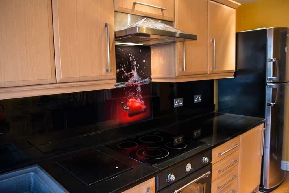 printed splashbacks black kitchens glass kitchen. Black Bedroom Furniture Sets. Home Design Ideas