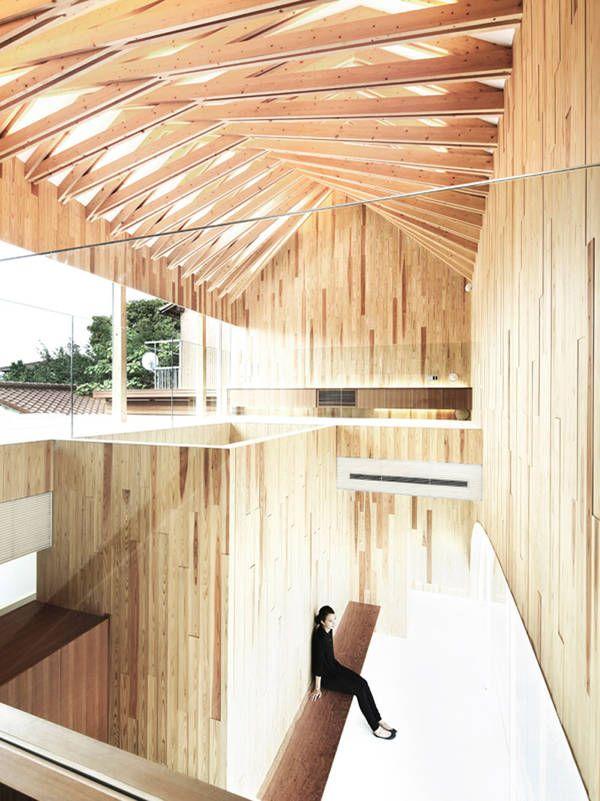 Holz architektur innenraum  Hölzerne Verzahnung: Praxis in Mino City | Tragwerk, Hausbau und ...