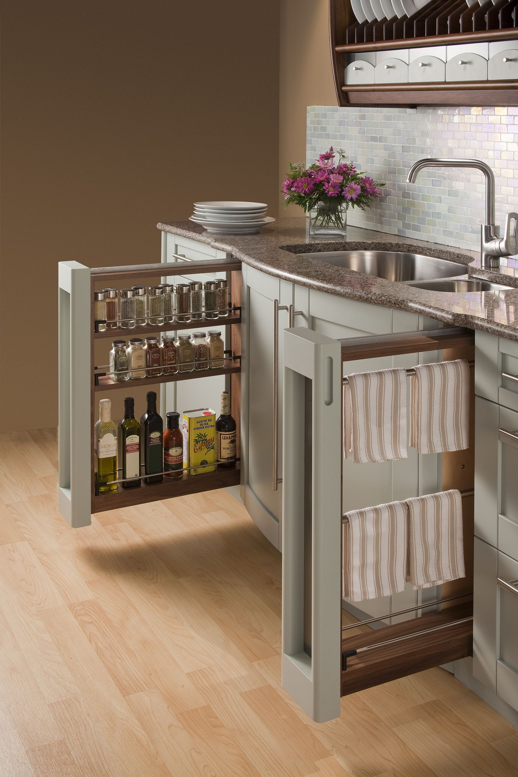Cabinet Base Pulloutsu2014spice Rack And Towel Rack. Rutt Handcrafted Cabinetry.  #csikitchen