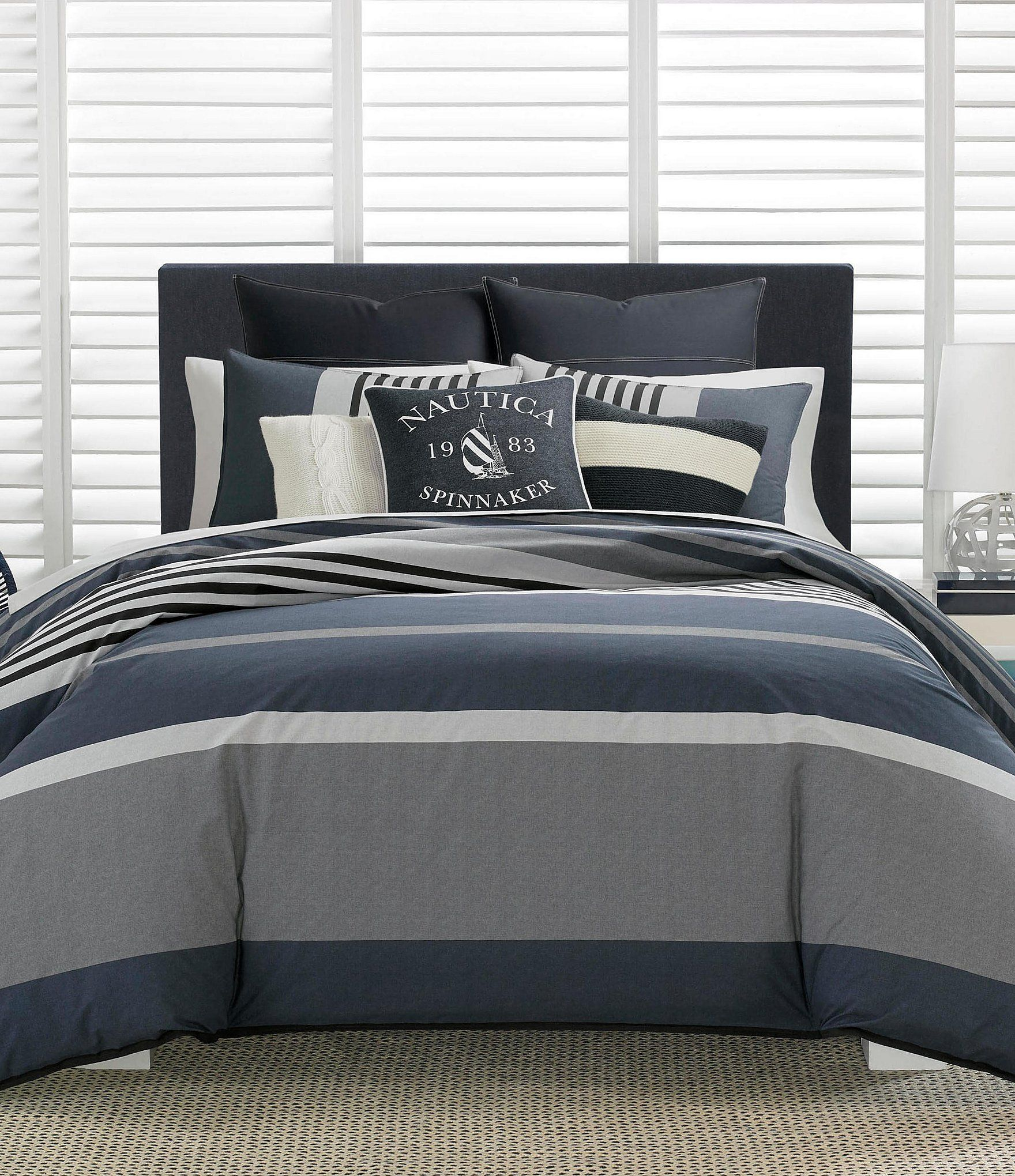 Nautica Rendon Stripe Comforter Mini Set White Linen Bedding Striped Duvet Bed Linen Design