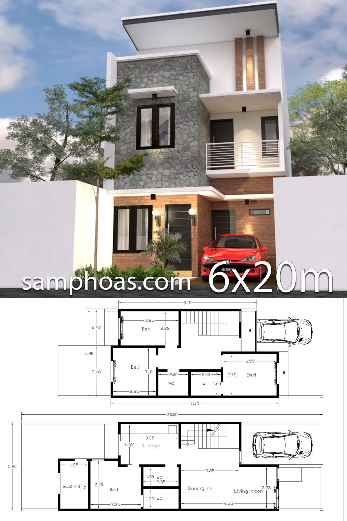 6x20m house design 3d plan with 4 bedrooms samphoas plansearch rh pinterest com