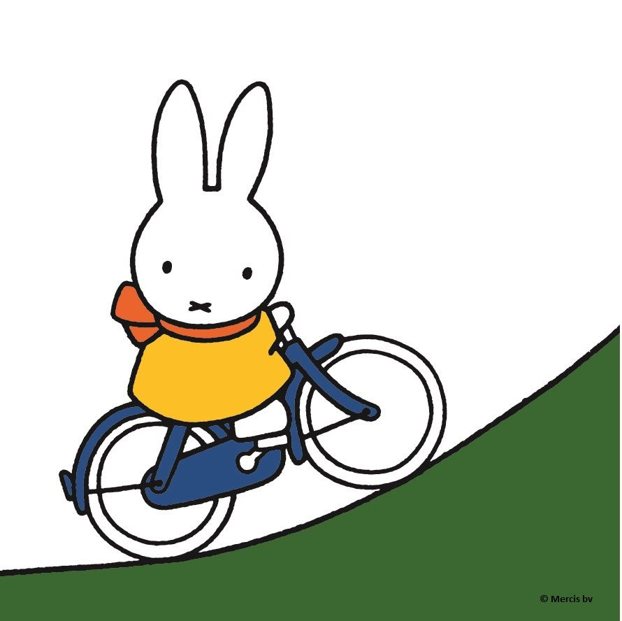 miffy on her bike cycling uphill yellowdress illustration