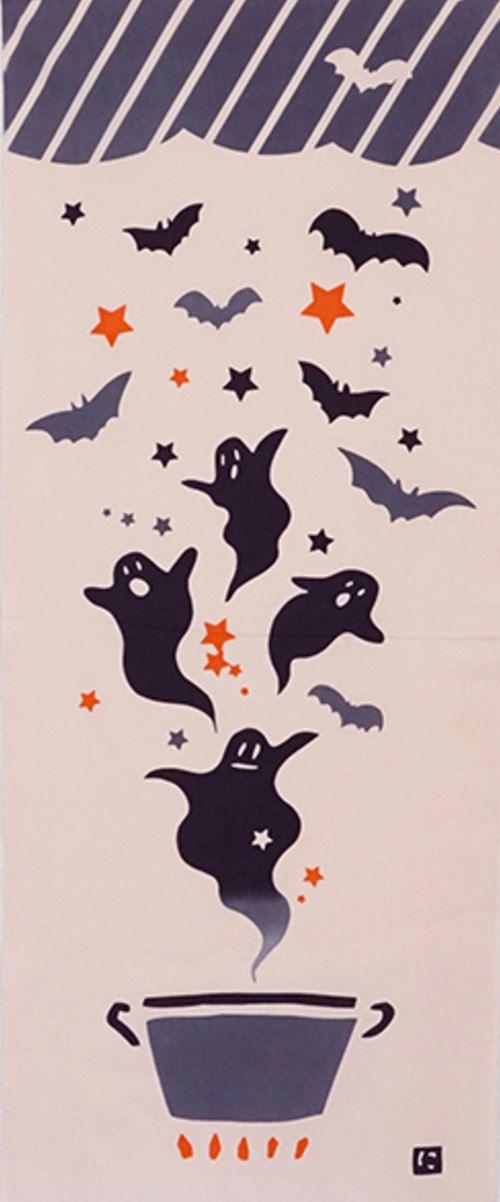 Louisiana Map Decor%0A Tissu de coton japonais Tenugui  tissu d u    Halloween  fant  me  Pan  chauve