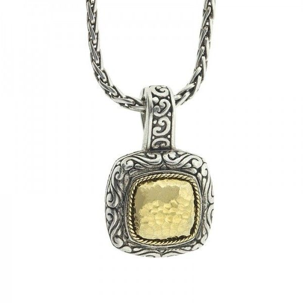 Pre-owned Effy Balissima Two Tone Square Pendant Necklace ($299) ❤ liked on Polyvore featuring jewelry, necklaces, pendant chain necklace, two tone pendant necklace, star necklace, fine jewelry and two tone chain necklace