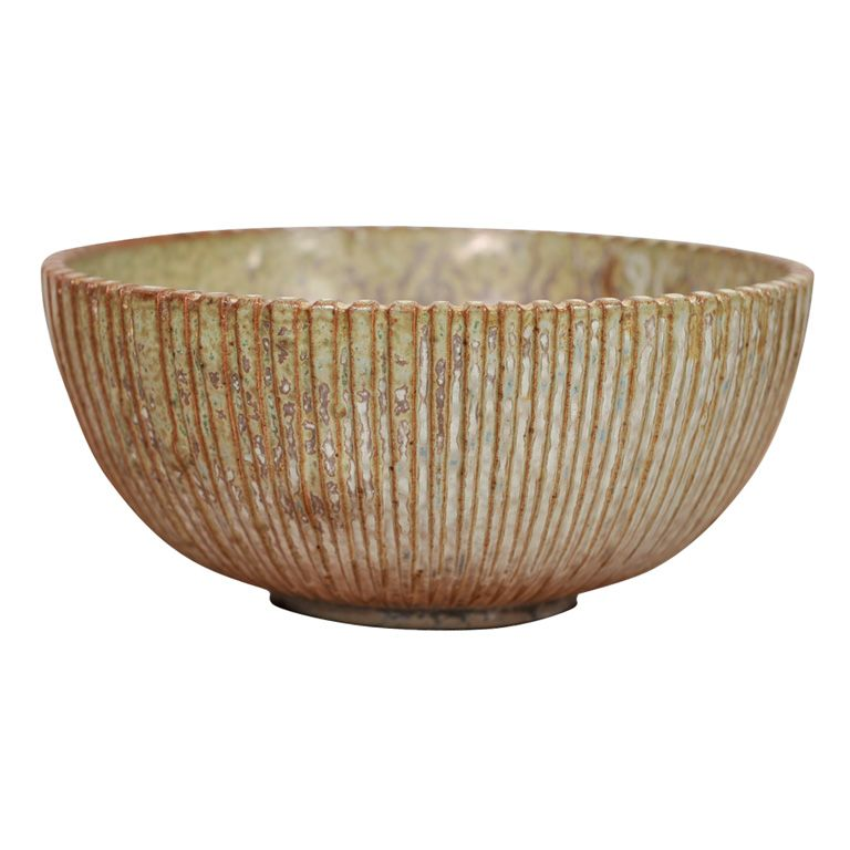 """Stoneware bowl,"" Arne Bang, Denmark, ca. 1930. ca. 4 ⅜ x 8 inches."