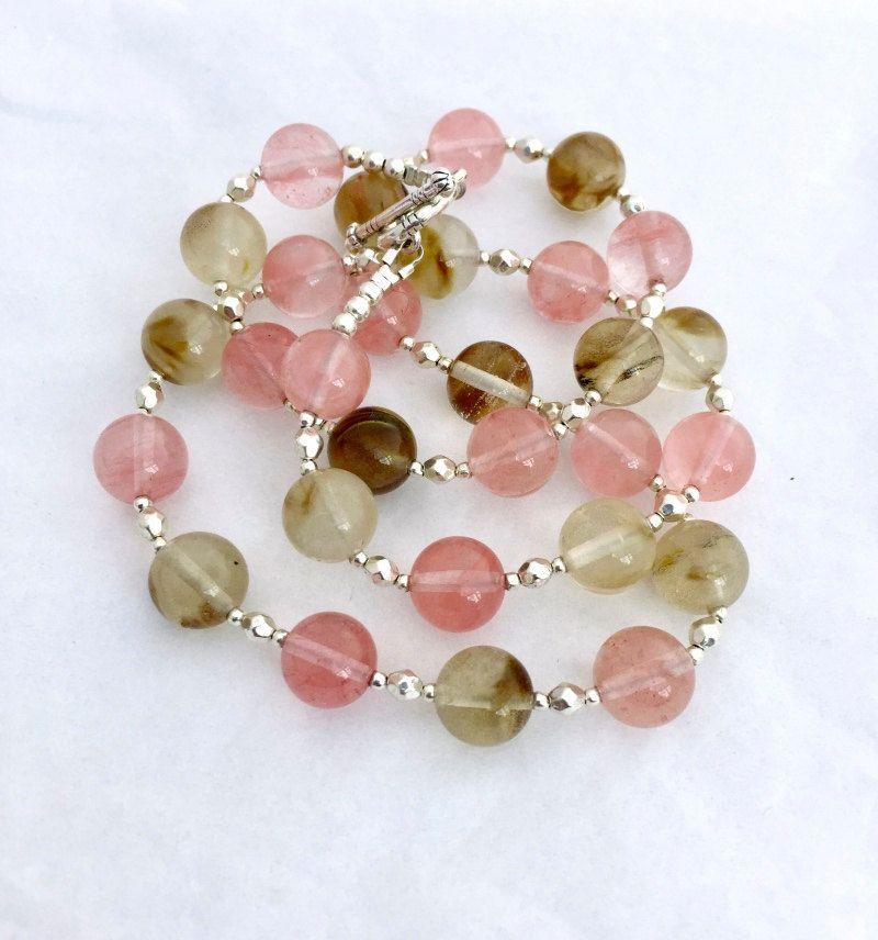 Tiger and Cherry Quartz Gemstone Necklace, Multi Coloured Beaded ...