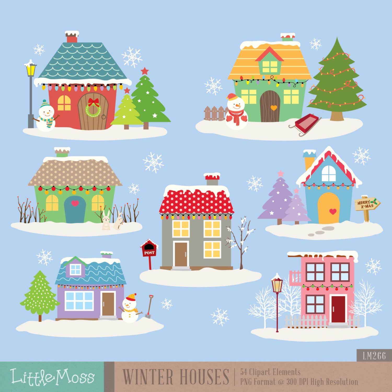 winter houses digital clipart clip art winter house clip art y rh pinterest es