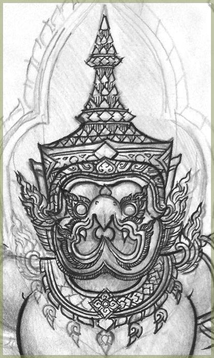 garuda 39 s face drawing inspiratie pinterest thai art drawings and hanuman. Black Bedroom Furniture Sets. Home Design Ideas