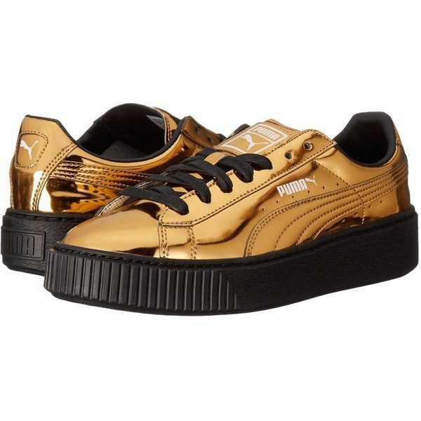 9d415bd0bc0ea4 PUMA Basket Platform Metallic (Gold Gold Puma Black) Women s... (€91) ❤  liked on Polyvore featuring shoes