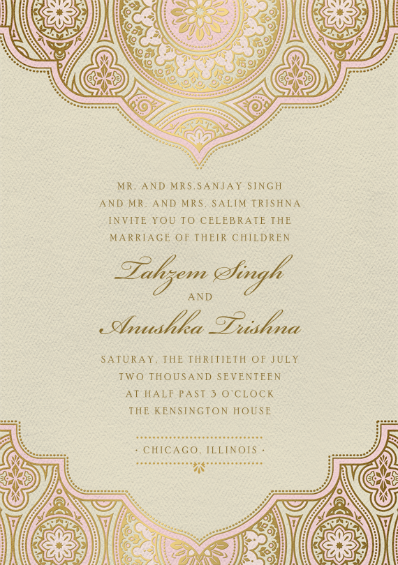 Indian Inspired Invitations In Pink Greenvelope Com Indian Wedding Invitation Cards Hindu Wedding Invitations Hindu Wedding Cards