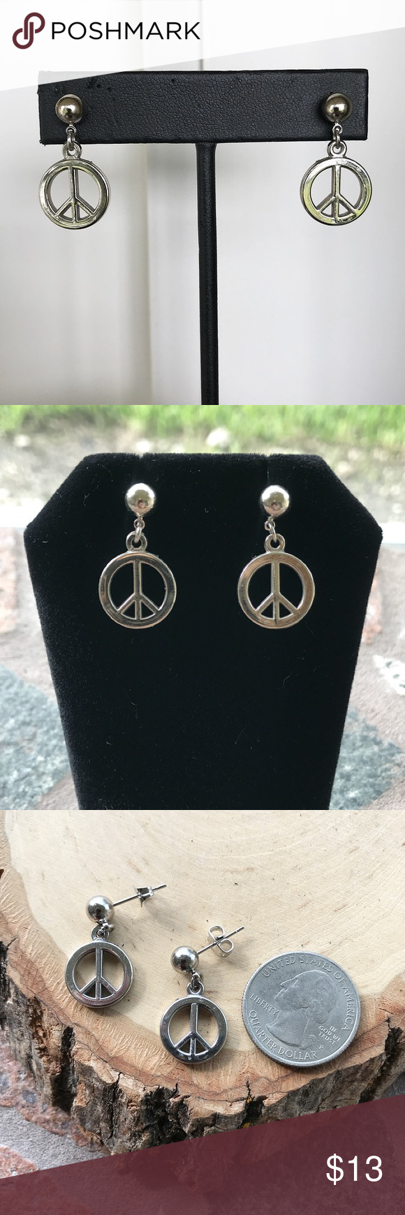 Download SALE peace sign silver ball nickel free earrings Boutique ...