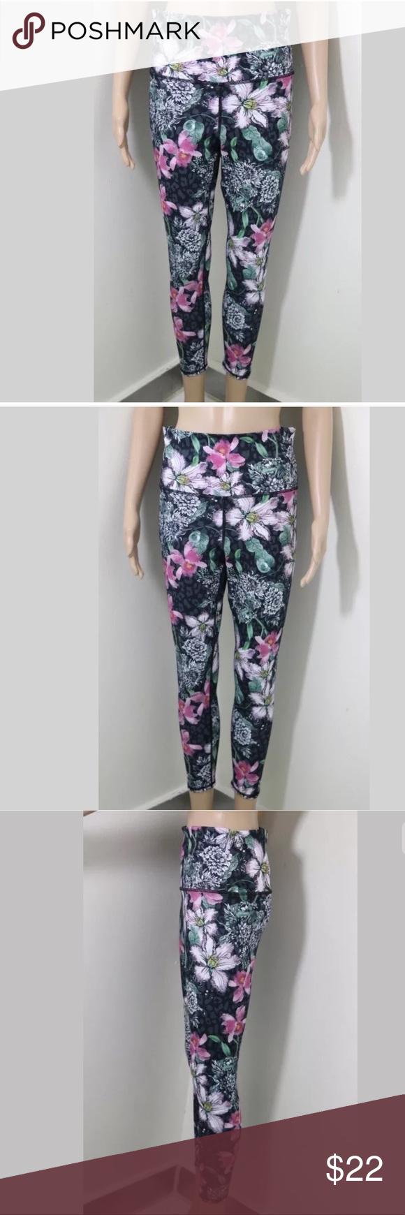 442fb83d4b9b2 EVCR Floral Leggings Tights Pants Sz M Purple Evolution and Creation EVCR  Womens Cropped Capri Yoga