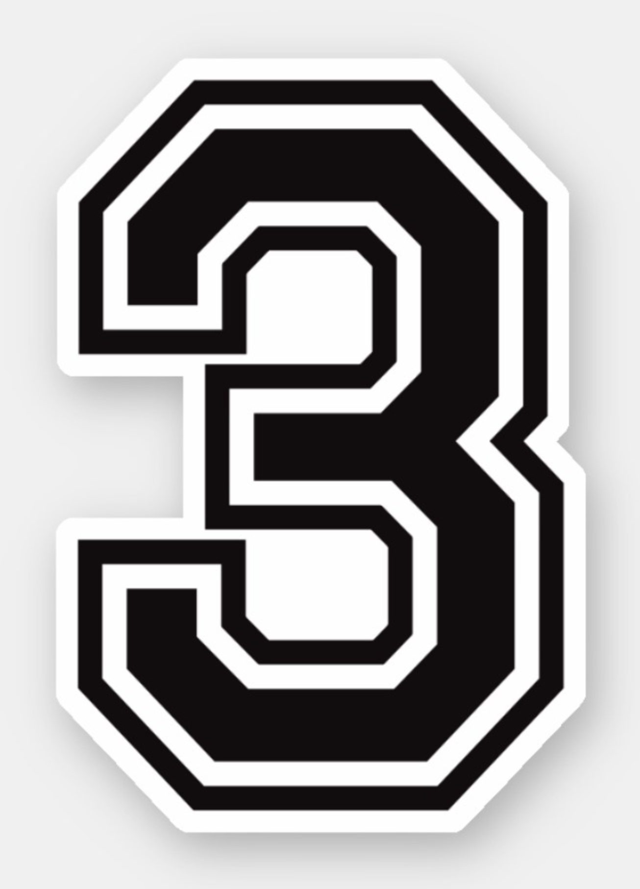 Number Three 3 Sporty College Font Sticker Zazzle Com In 2020 Jersey Font Lettering Fonts Numbers Font