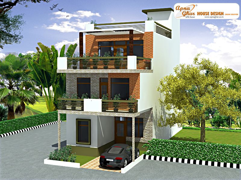 4 Bedroom, Modern Triplex (3 Floor) House Design. Area: 108 Sq