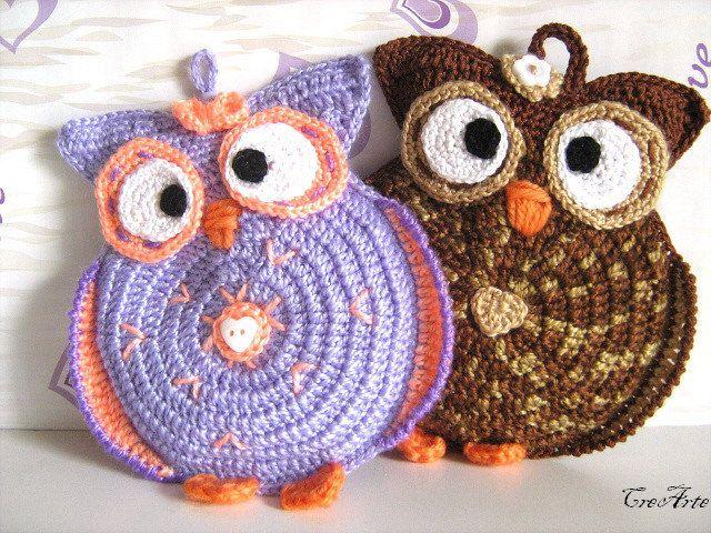 Purple crochet owl potholder - Presina gufo lilla all\'uncinetto ...