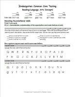 Kindergarten Common Core Reading Test