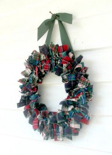 Tartan plaid fabric rag Wreath for the door or wall in red green
