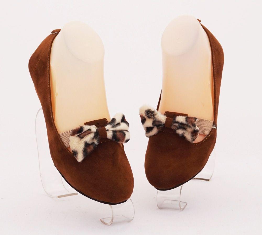 Sepatu Flat Ribbon Leopard Warna Coklat Bahan Beludru Sepatu