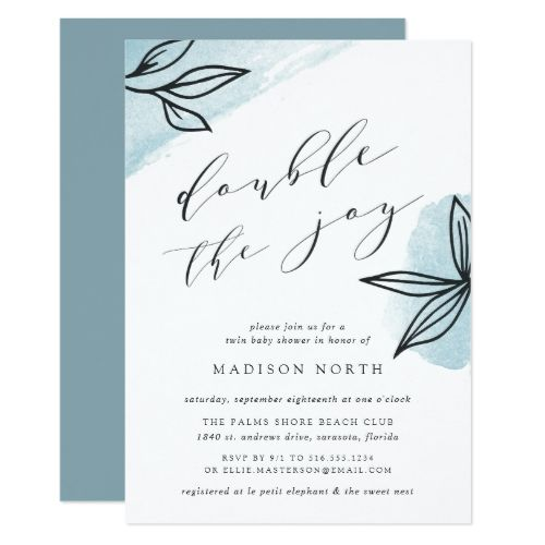 Secret Garden Twins Baby Shower Invitation is part of Secret garden Invitations - Simple and elegant baby shower invitation for twins on the way features  double the joy  in chic black modern calligraphy lettering, flanked by vintage style botanical outline illustrations on a sheer wash of blue watercolor  Personalize with your twin baby shower details beneath  Baby shower invitations reverse to solid blue tourmaline  Customize the paper type or shape to make this elegant design your own