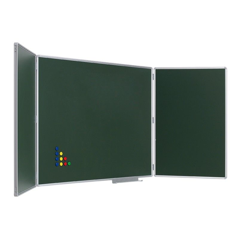 Pizarra mural verde tríptica enmarcada con perfil de aluminio ...