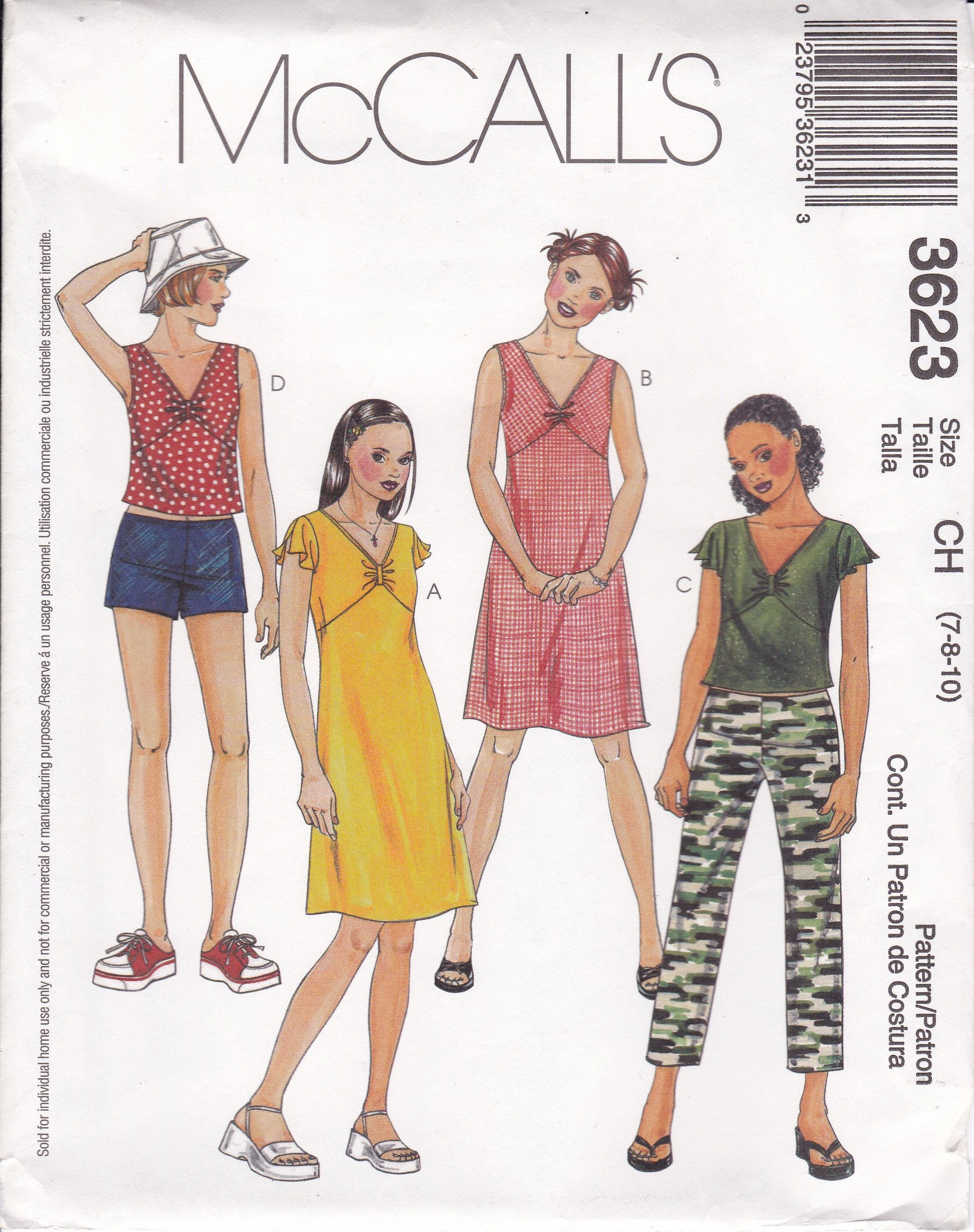 Sewing Pattern For Girls Dress Top Pants Shorts Mccalls Pattern