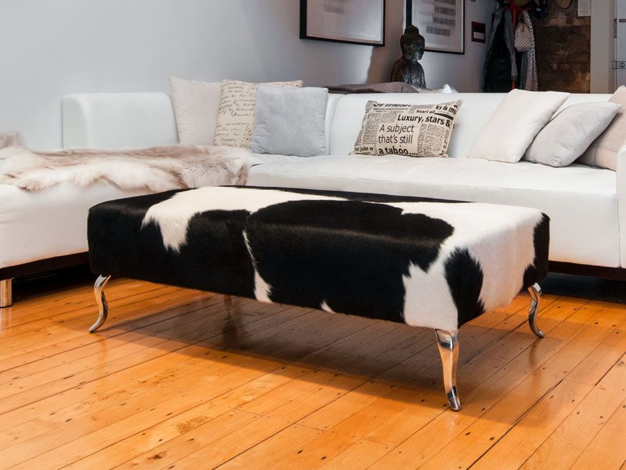 ottoman for living room%0A A beautiful modern black and white cowhide ottoman by Gorgeous Creatures  who are a cowhide ottoman