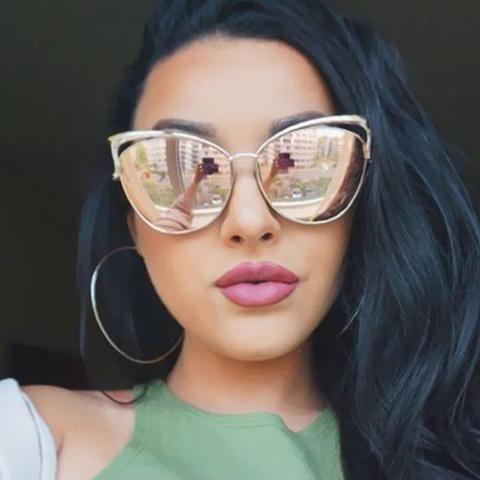 75a10ef2bf New Fashion Cat Eye Sunglasses Women Brand Designer Twin-Beam Mirror Sun  Glasses Vintage Female lentes de sol mujer Sunglasses