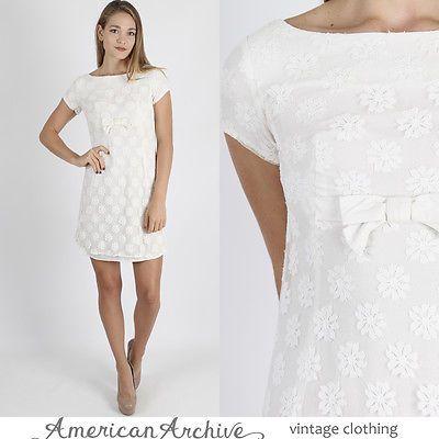 Vintage 50s Lace Wedding Dress Sheer Fl Mod Bridal Party Wiggle Mini S