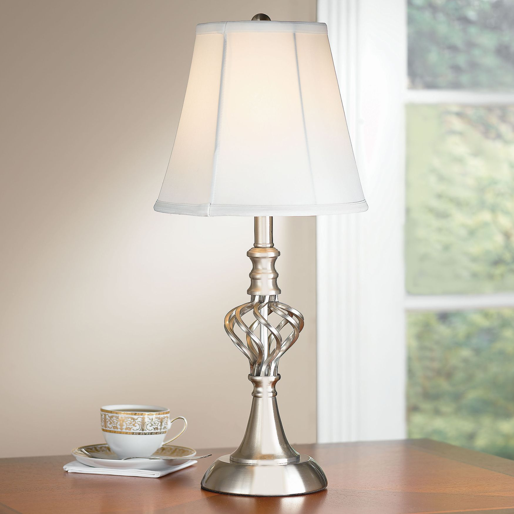 Polished Nickel u0026 Scroll Touch Table Lamp