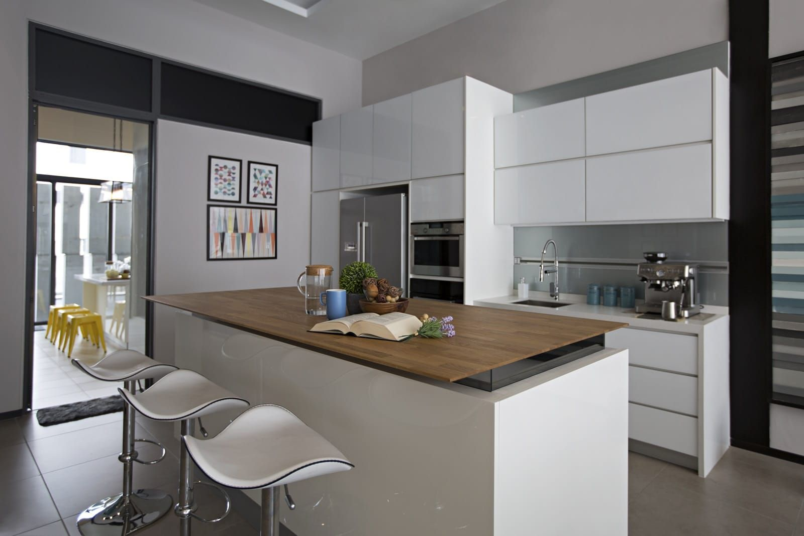 modern terrace house dry kitchen and island by turn design