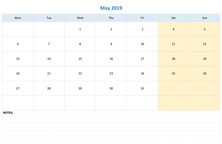 print fillable may 2019 calendar with notes large space free rh pinterest com