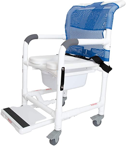 Deluxe Rolling Shower Chair with Drop Arms
