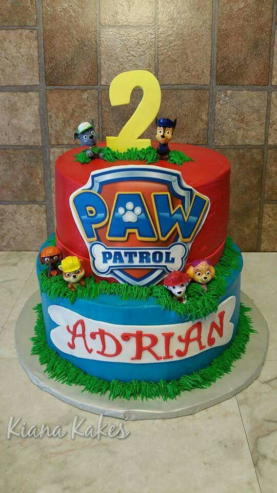 Paw Patrol Buttercream Cake With Images Paw Patrol Birthday