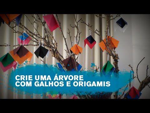 Crie uma árvore diferente com galhos e enfeites de origami - YouTube