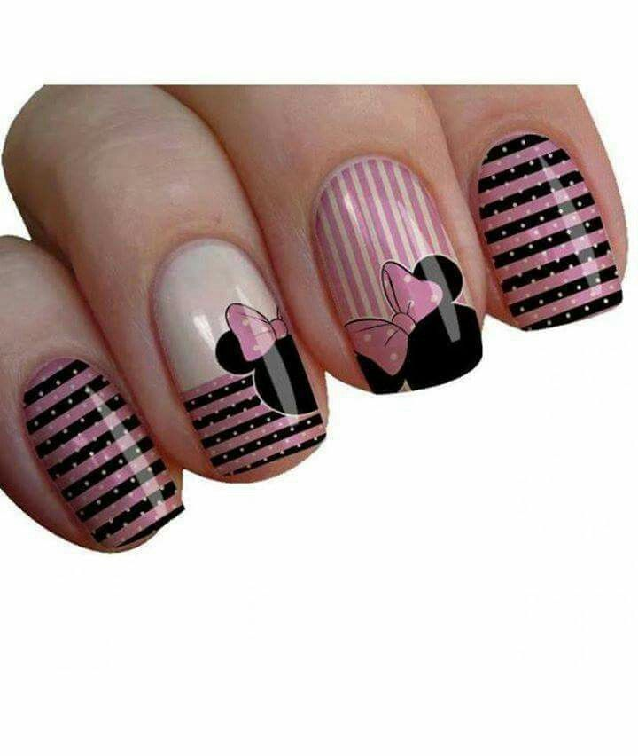 Pretty Minnie In Pink | uñas decoradas faciles de acer | Pinterest ...