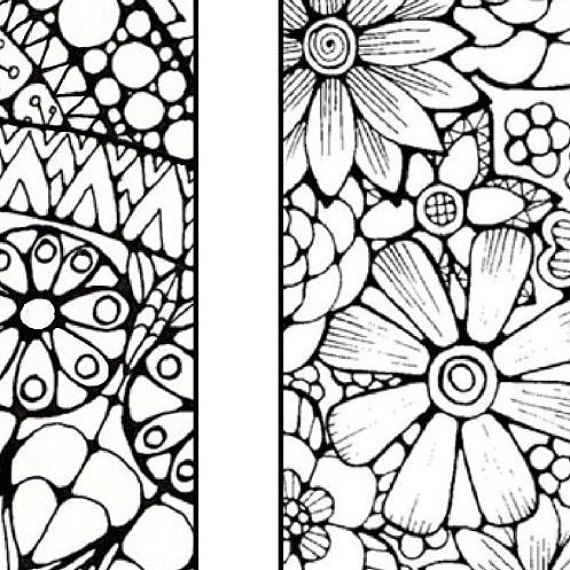 Bookmarks to Color and Print - Bookmark Coloring Page - Digital ...