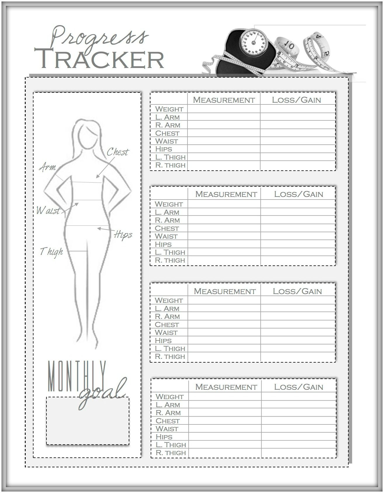 Weight loss and measurement progress tracker also healthy me rh pinterest
