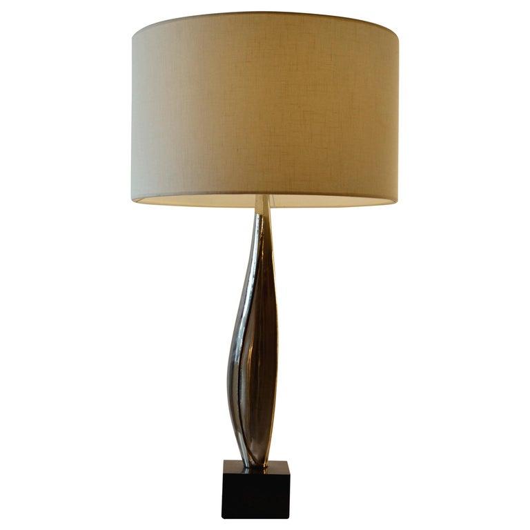 Maison Charles Table Lamp Tall Slender 1960 Drum Shape Shade