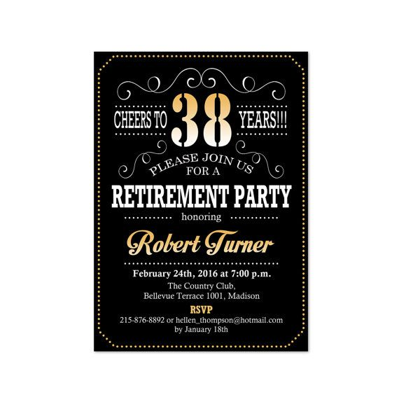 Retirement Party Invitation  Black Gold  Digital Printable