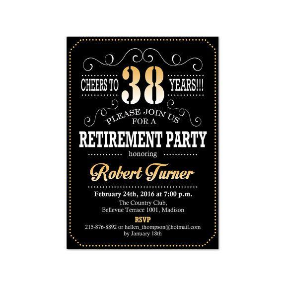 golden retirement party invitations  black retirement parties, party invitations
