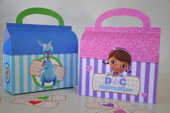 Doc McStuffins doctor's bag and Stuffy's check-up kit PDF printable favor box set, perfect for your Doc McStuffins party!