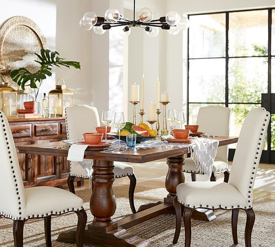 Bowry Reclaimed Wood Dining Table Orb Chandelier Dining And Mid - Pottery barn reclaimed wood dining table