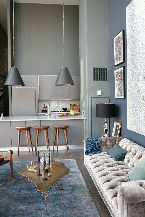 Salón tonos azul y gris hogar en 2018 Hogar, Decoración hogar y