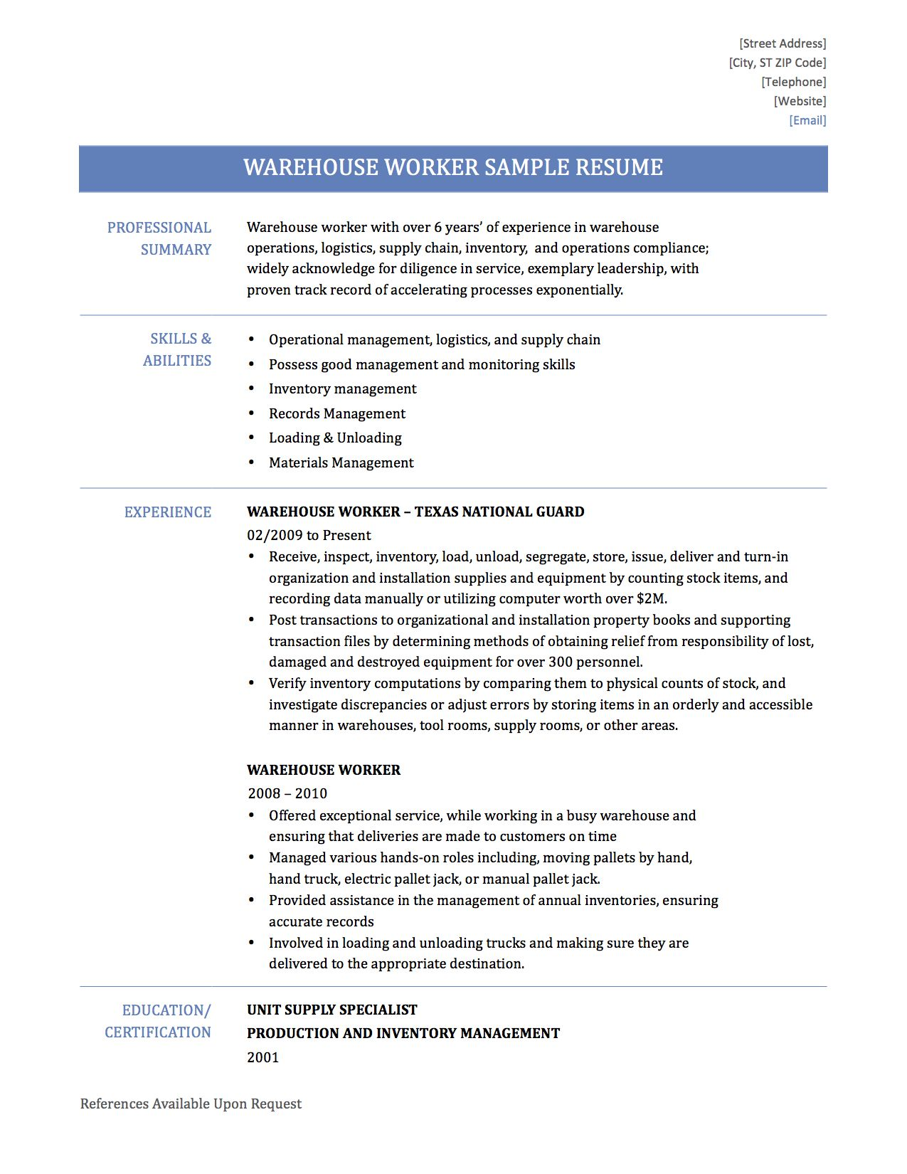 warehouse duties resume cover letter sample retail customer ...