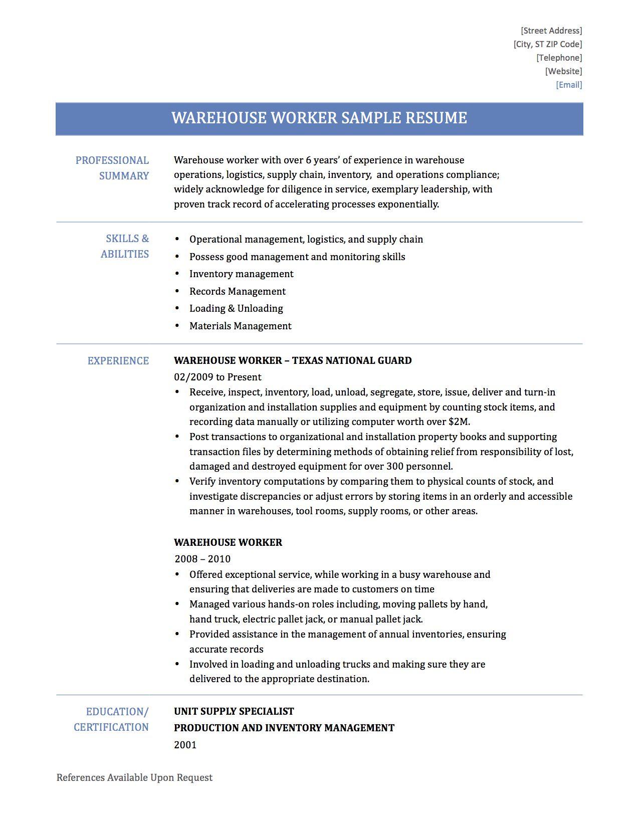 warehouse resume