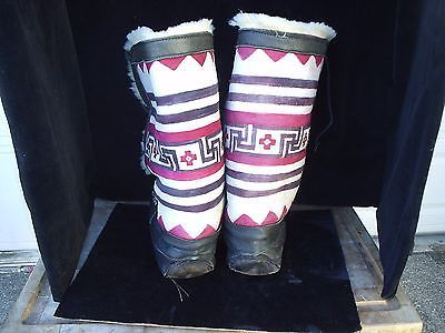 Handmade Hand Painted Native American Tall Leather Boots
